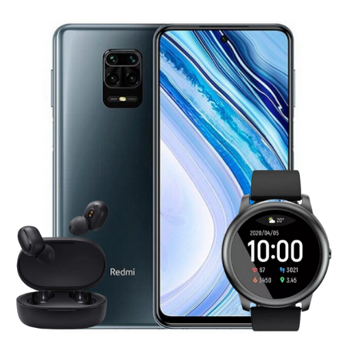 [INN04448] Combo Celular Xiaomi Redmi Note 9 Pro 128GB + SmartWatch Xiaomi Haylou Solar LS05 44mm + Audífonos Mi True Wireless Earbuds