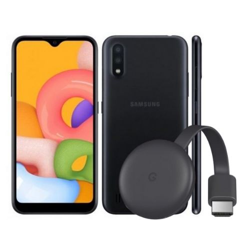 Combo Celular Samsung Galaxy A01 + Dispositivo de Streaming Google Chromecast 3