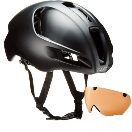 [INN02449] Combo Casco para Ciclismo Kask Utopia Matt Black + Mistral Visor Orange